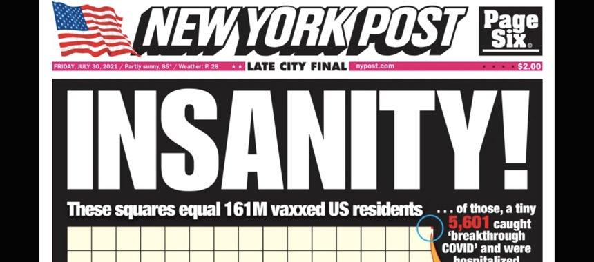 New York Post Says It All, As Mayor De Blasio Locks Down